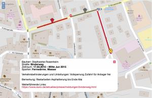 Screenshot Nutzersicht des Baustellenfinders: Baustelleninfos im Detail, inklusive Verkehrsregelung.