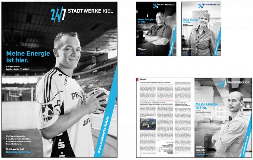 Schwarz-weiß ist die Bildsprache der Stadtwerke Kiel: Motive aus den Werbekampagnen.