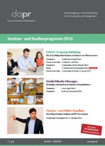 DAPR-Seminarprogramm 2016
