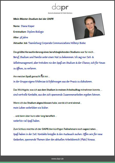 DAPR-Studentin Diana Kieper: 6 Fragen an...