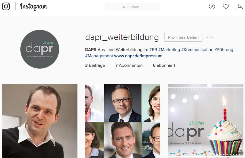 DAPR-Profil auf Instagram