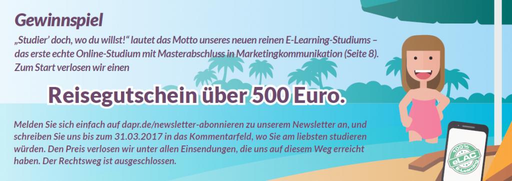 DAPR-Gewinnspiel: Reisegutschein über 500 Euro