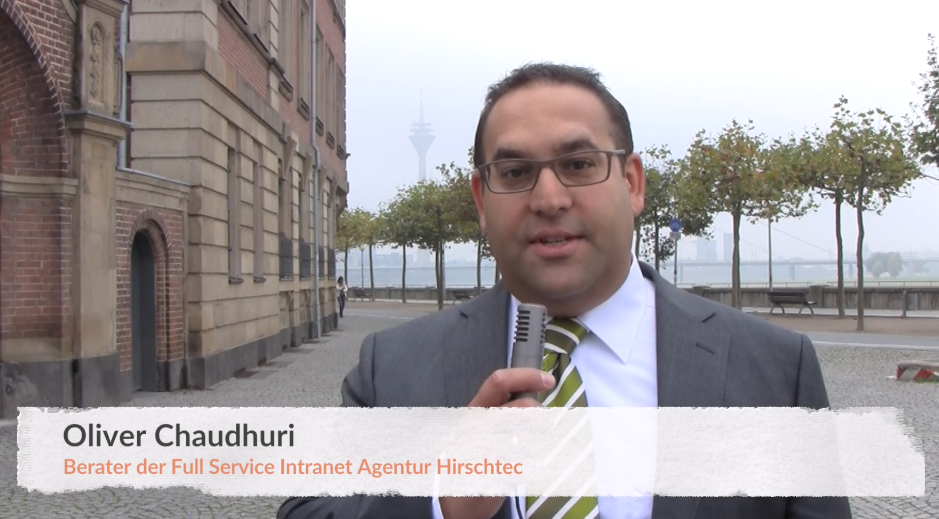 "Screenshot aus einem Video mit Oliver Chaudhuri, Dozent des DAPR pro-Seminars ""Social Intranet"""