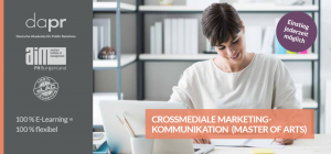 "Titelseite Master-Booklet Online-Studium ""Crossmediale Marketingkommunikation"""