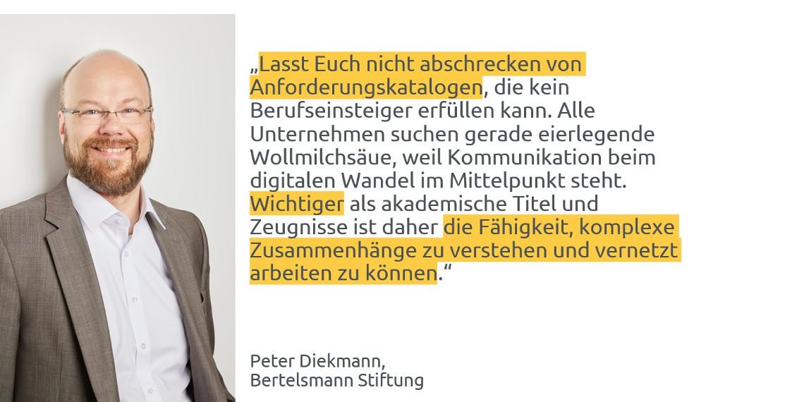 #daprzertifiziert - Tipps zum Berufseinstieg von Peter Diekmann, Bertelsmann Stiftung