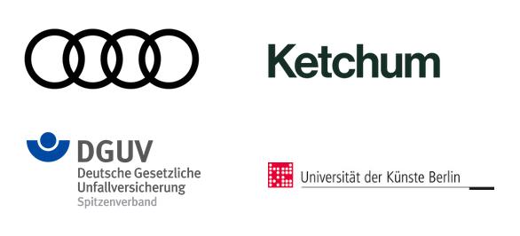 Logos von Audi, Ketchum, DGUV, UdK Berlin. Sie alle tragen nun das Siegel dapr.zertifiziert