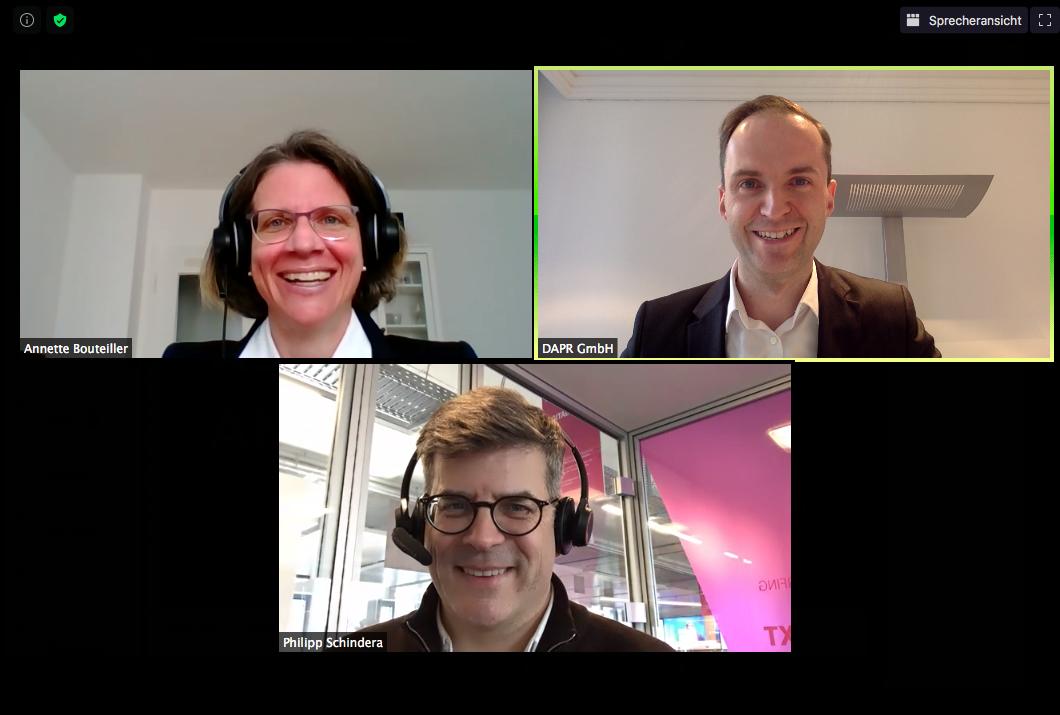 Screeenshot der #askmeanything-Session mit Philipp Schindera, Leiter Unternehmenskommunikation Deutsche Telekom AG