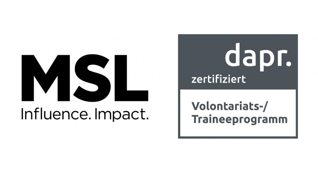 Traineeprogramm von MSL erfolgreich dapr.zertifiziert Düsseldorf, 28. Juni 2021. Die Trainees der Kommunikationsberatung MSL werden ab sofort dapr.zertifiziert ausgebildet.