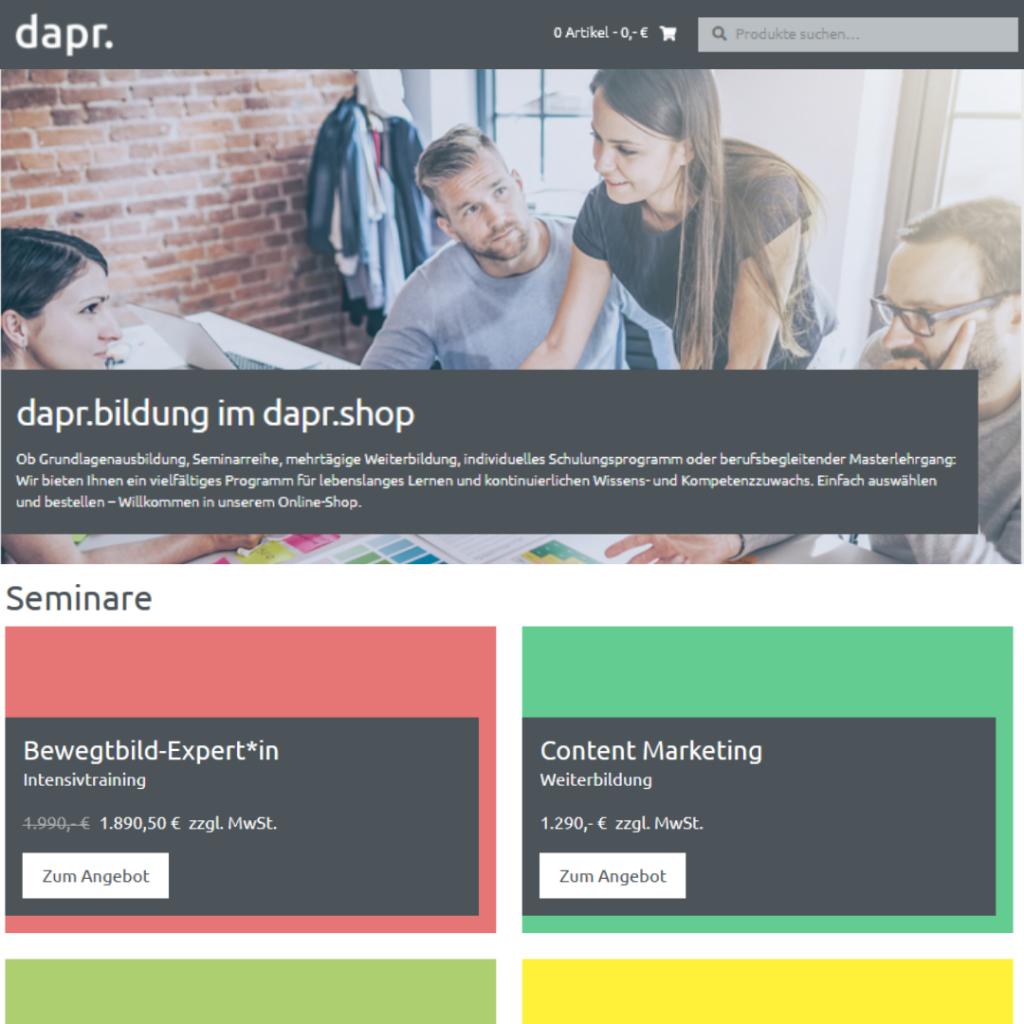 Die Deutsche Akademie für Public Relations (dapr) hat einen Onlineshop für ihre Weiterbildungen eröffnet.
